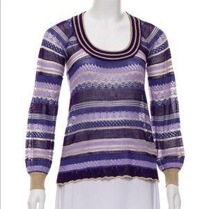 Maje : purple semi sheer metallic sweater size med